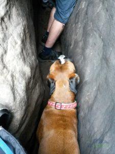 Ve skalním komíně byl krásný chládek.